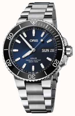 Oris Mens aquis grote dag datum blauwe wijzerplaat metalen armband 01 752 7733 4135-07 8 24 05PEB