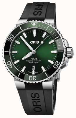 Oris Mens aquis date groene wijzerplaat zwarte rubberen band 01 733 7730 4157-07 4 24 64EB