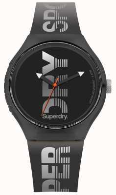 Superdry Urban XL sport zwarte siliconen band SYG189B