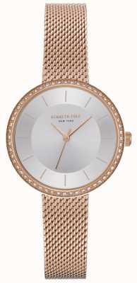 Kenneth Cole Dames diamant gezet rosé gouden mesh horloge KC50198004