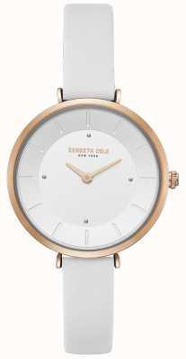 Kenneth Cole Dames diamant gezet rosé gouden kast wit leer horloge KC50306004