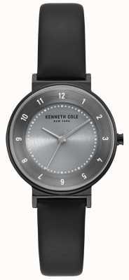 Kenneth Cole Klassieke zwarte wijzerplaat lederen horlogeband in zwart KC50075001