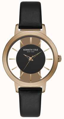 Kenneth Cole Dames rosé gouden kast met zwarte lederen band KC15172004