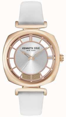 Kenneth Cole Roase gouden kast van vrouwen op een witte leren riem KC15108003