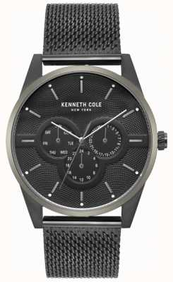Kenneth Cole Mens multi dial zwart mesh armband horloge KC15205005