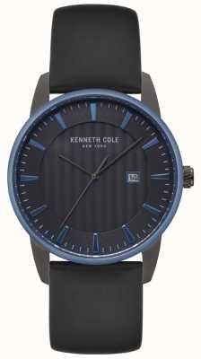Kenneth Cole Herenhorloge zwart wijzerplaat zwart leer KC15204004