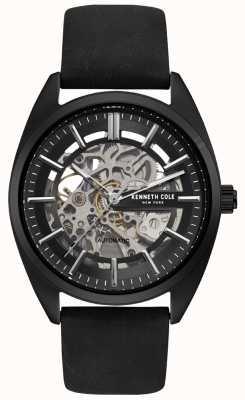 Kenneth Cole Heren skelet wijzerplaat zwart lederen band horloge KC50064001