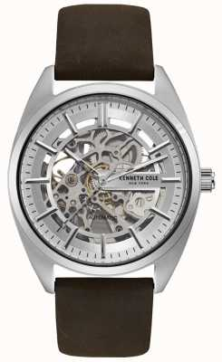 Kenneth Cole Heren skeleton wijzerplaat bruin lederen band horloge KC50064002