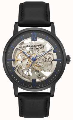 Kenneth Cole Heren skelet wijzerplaat zwart lederen band horloge KC50054002