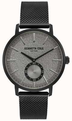 Kenneth Cole Heren zwart grijs subdial horloge voor heren met zwarte mesh armband KC50055001