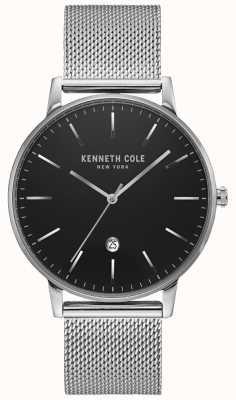 Kenneth Cole Klassiek zwart zilverkleurig roestvrijstalen meshhorloge KC50009004