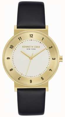 Kenneth Cole Zwart lederen horloge met goudkleurige kast KC50074002