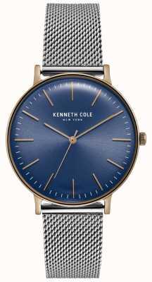Kenneth Cole Donkerblauw roestvrij stalen mesh horloge KC15183003