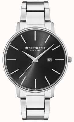 Kenneth Cole Roestvrij stalen zwarte wijzerplaathorloge met datumvertoning KC15059002