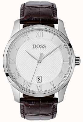 Hugo Boss Heren groot zilveren wijzerplaat blauw lederen horloge 1513586