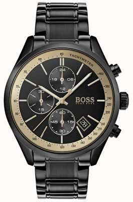BOSS Heren Grand Prix zwart IP / goud accent horloge 1513578