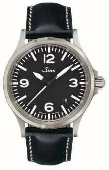 Sinn 556 een sport saffierglas lederen band 556.014 BLACK LEATHER WHITE STICH