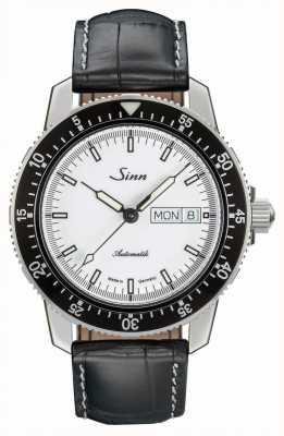 Sinn 104 st sa iw classic pilot horloge alligator reliëf leer 104.012 BLACK EMBOSSED LEATHER