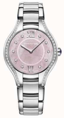 Raymond Weil Dames armband in noox diamant roestvrij staal roze wijzerplaat 5132-STS-00986