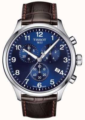 Tissot Heren t-sport xl chronograaf blauwe wijzerplaat bruine lederen band T1166171604700