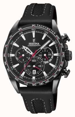 Festina Zwarte lederen chrono lederen horlogeband F20351/3