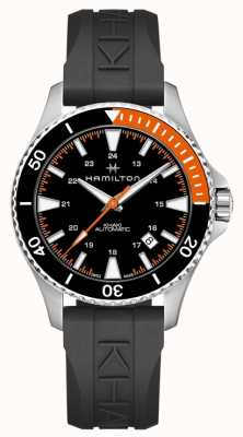 Hamilton Khaki zwart zwart rubberen bandje met automatisch oranje accent H82305331