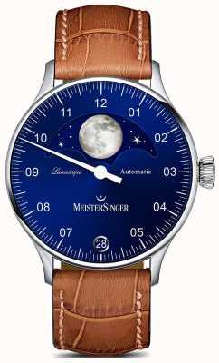 MeisterSinger Pangaea lunascope bruine band blauwe wijzerplaat LS908