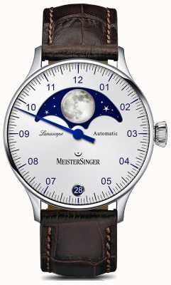 MeisterSinger Pangaea lunascope zilveren wijzerplaat bruine lederen band LS901