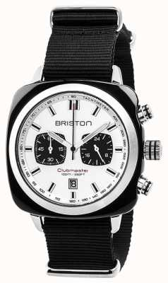 Briston Clubmaster sport tijdloze zwarte band witte wijzerplaat 17142.SA.BS.2.NB