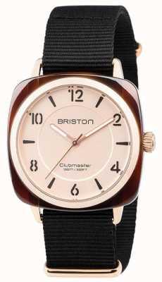 Briston Clubmaster chique zwarte riem wijzerplaat met gouden wijzerplaat 18536.PRA.T.6.NB