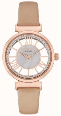 Kenneth Cole Dames rose gouden wijzerplaat beige lederen band KC50189003