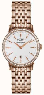 Rotary Dames rosegoud verguld armband kristalhorloge LB90054/06