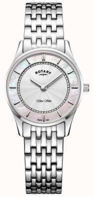 Rotary Womens ultraslanke zilverkleurige armband moeder van piemel wijzerplaat LB08300/07