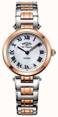 Rotary Dames tweekleurige luzerne horloge witte wijzerplaat LB90187/41