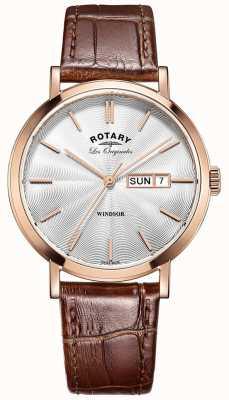 Rotary Horloges herenhorloge, roségoud verguld, lederen band GS90157/02