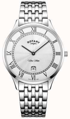 Rotary Heren ultradun witte wijzerplaat roestvrij stalen horloge GB08300/01