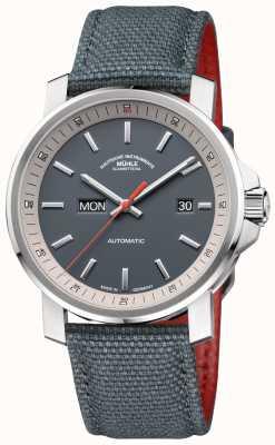 Muhle Glashutte Het 29er tag-datum roestvrijstalen grijze horloge M1-25-34-NB