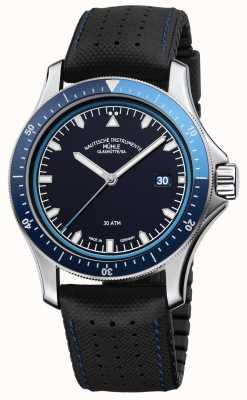 Muhle Glashutte Promare gaat blauw wijzerplaat zwart leer / rubberen band M1-42-32-NB