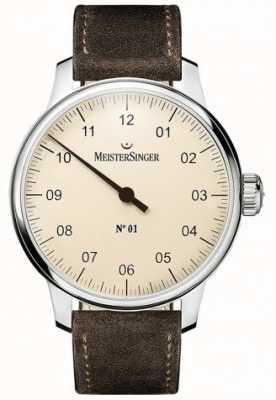 MeisterSinger Nr. 1 40mm en wond sellita suede bruin riem DM303