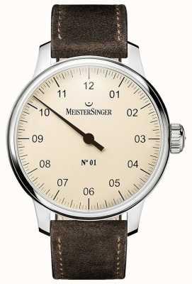 MeisterSinger Nr. 1 40 mm en opgewonden sellita suède bruine band DM303