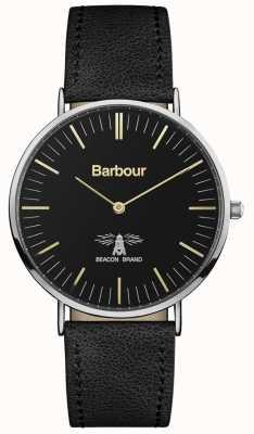 Barbour Zwarte leren wijzerplaat heren hartley zwart leer BB055BKBK