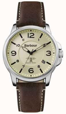 Barbour Mens barnard bruin lederen riem crème wijzerplaat BB072CPBR