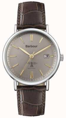 Barbour Heren bamburgh bruin lederen band grijze wijzerplaat BB069GYBR