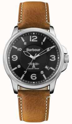 Barbour Zwarte lederen wijzerplaat van barnard bruin leer BB072BKBR