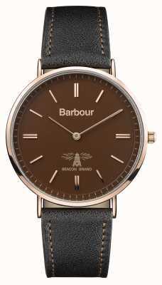 Barbour Heren hartley zwart lederen band bruine wijzerplaat BB055BRBK