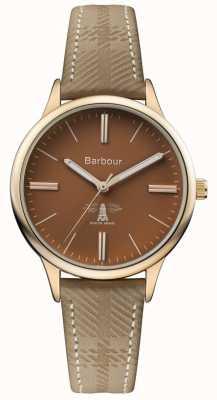 Barbour Heren embleton bruin lederen band bruine wijzerplaat BB058BRKH