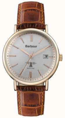 Barbour Heren bamburgh bruin lederen band grijze wijzerplaat BB069SLBR