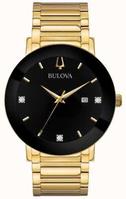 Bulova Heren moderne horloge goudkleurige armband zwarte wijzerplaat 97D116