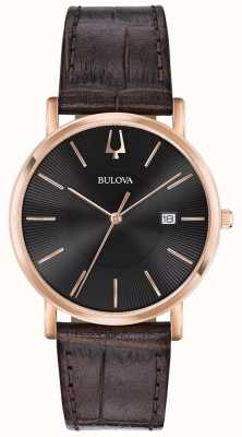 Bulova Heren dress watch bruin lederen band zwarte wijzerplaat 97B165