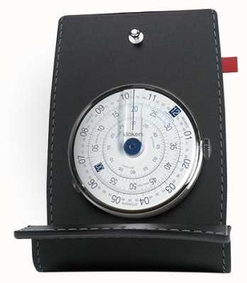 Klokers Klok 01 blauw horloge op het bureau en zak KLOK-01-D4.1+KPART-01-C2